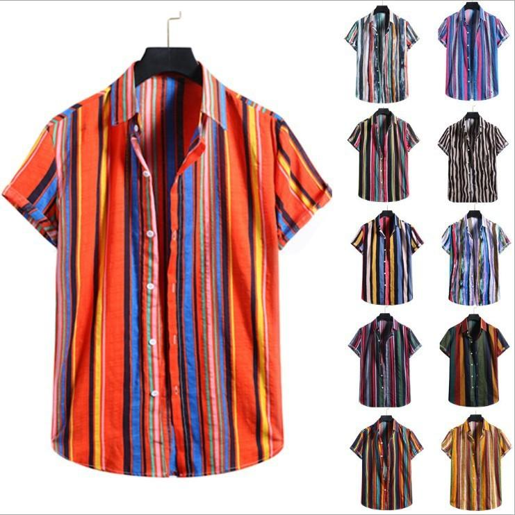 2021 Spring and Summer Men's Beach Shirt Hawaii Casual Flojo Stripe Stripe de manga corta camisa floral