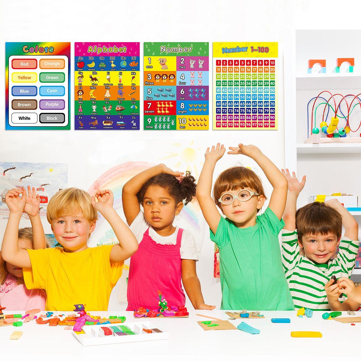 Pegatinas de pared infantil Educación temprana Póster Aprendizaje personalizado Iluminación Gráfico de iluminación Dibujos animados Decorativo Tamaño 29 * 40 cm