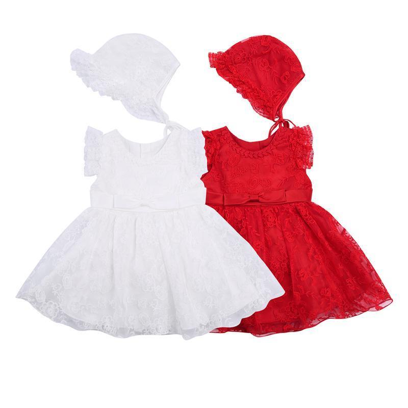 Vestidos de niña Vestido infantil para niños con sombrero, niñas de verano encaje floral o-cuello manga canonical + tapa para cumpleaños, boda, rojo / blanco