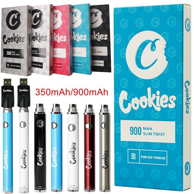 Cookies de cores misturadas SF Slim Twist Bateria Pré-aqueça Pré-aquecimento VV Variável Tensão 350mAh 900mAh 510 Thread Threat Bottom Baterias de torção com carregador USB