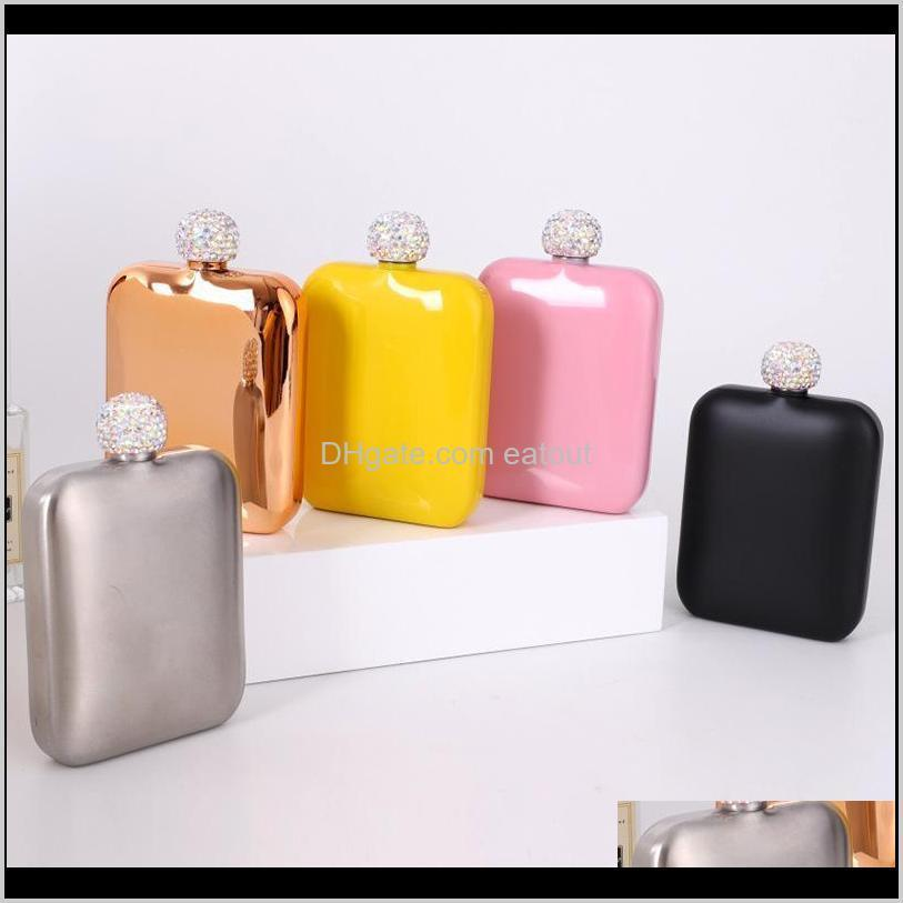 Flasks Drinkware Kitchen, Dining Bar Home & Gardenstainless Steel With Diamond Lid Ladies Outdoor Portable Square Hip Mini Pocket Flask 5 Co