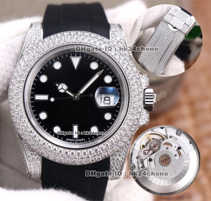 12 estilos Relojes de lujo DR 40mm Fecha 904L Steel Diamond ETA2836 Reloj automático para hombre Sapphire Cristal Negro Dial Correa de cuero Diamantes Diamantes Gents Gents Relojes de pulsera