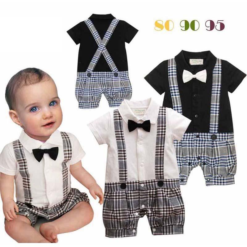 유아 소년 rompers 나비 넥타이 아기 원피스 아이들 등반 의류 유아 격자 무늬 점프 슈트