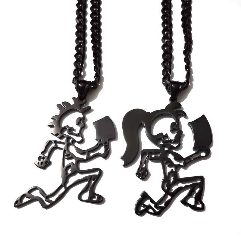"""Acciaio inossidabile Hchetman Black Jugglette Skeleton 2 """"S.Steel Charm Insane Clown Possue Twiztid Rare Curb Catena Collana Collana Collane pendente"""