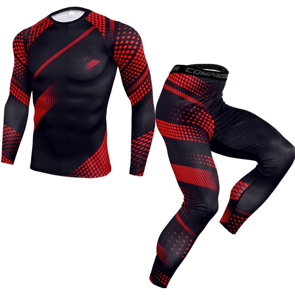 Conjuntos de secado rápido de los hombres Elástico Fitness Pantalones apretados Traje de manga larga Medias deportes Gimnasio Conjuntos de gimnasio # G30