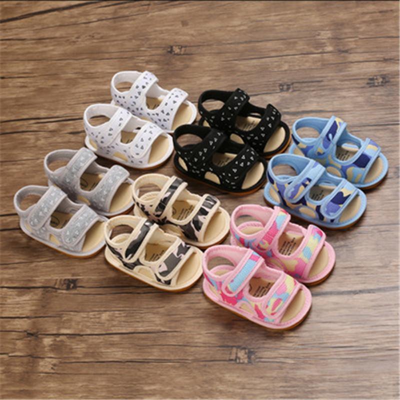 아기 샌들 소년 소녀 신발 태어난 여름 기하학적 패턴 부드러운 고무 유일한 통기성이 아닌 유아