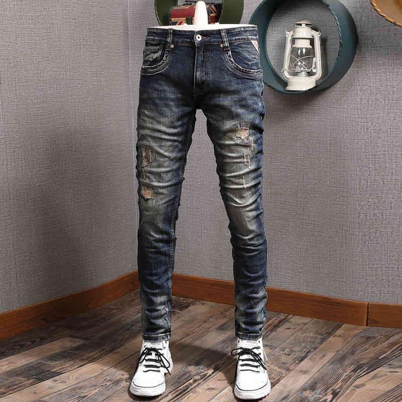 Jeans Moda Italiana Hombres Jeans De Alta Calidad Retro Negro Negro Elástico Slim Slim Rapped Denim Pantalones Patchwork Vintage Diseñador Pantalones