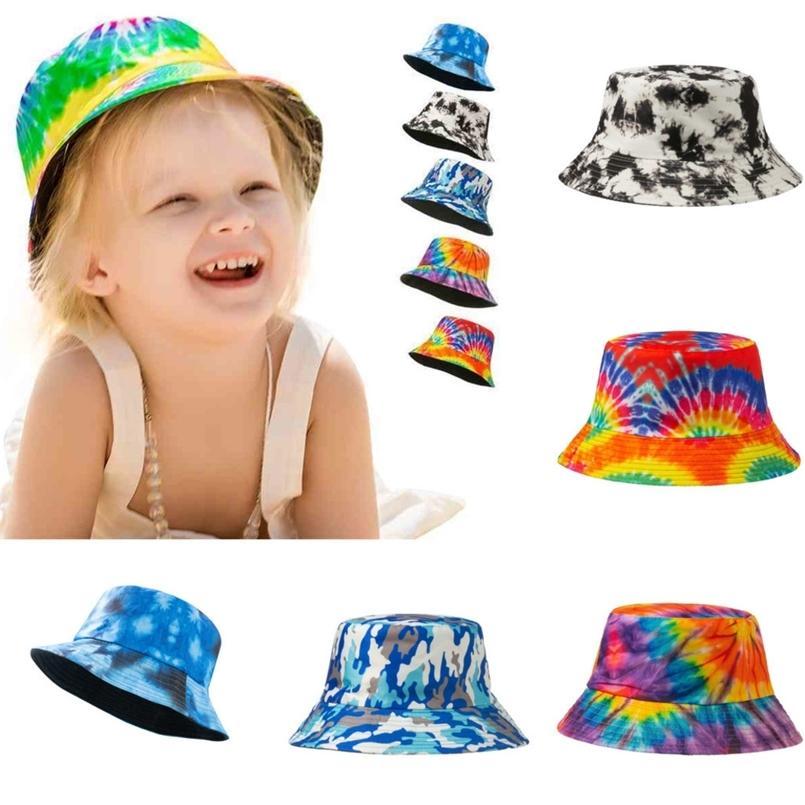 30pcs / DHL Tie Cravate Dye Designers Chapeau Kids Enfant Sucket Cap Fisherman Ball Caps Boys Filles Rainbow Gradient Snapback Sports Sports Sun Visière Voyage en plein air G36kdin
