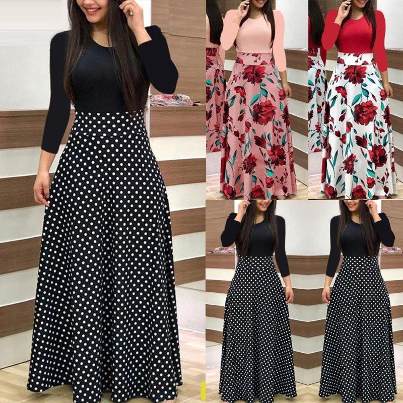 Robes pour femmes Ropa Mujer Fashion manches longues Floral Boho Robe d'impression Dames Casual Vêtements pour femmes
