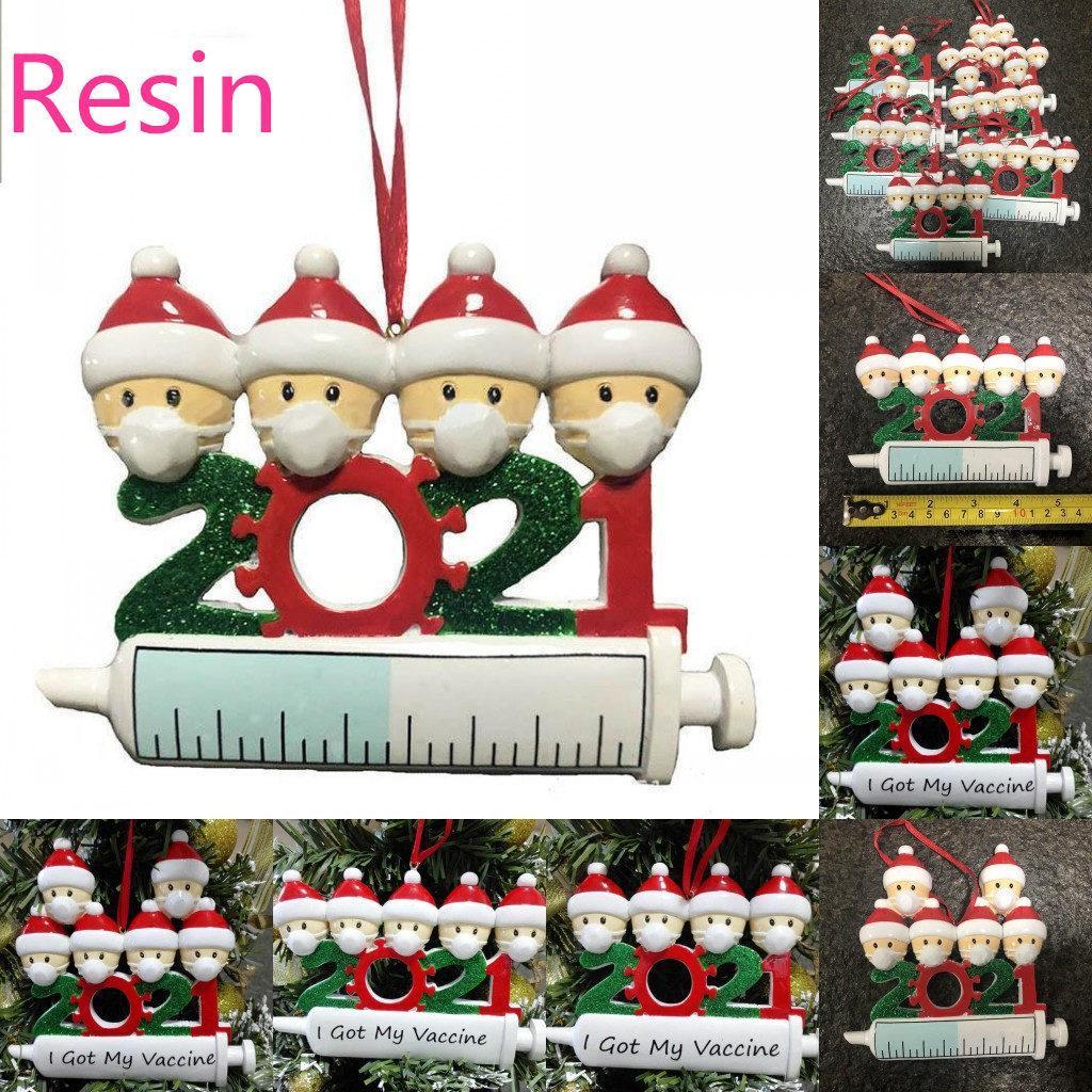 2021 جديد عيد الميلاد الديكور الحجرية الحلي الراتنج المواد الأسرة من 1-9 رؤساء diy شجرة قلادة اكسسوارات مع حبل dhl الشحن السريع