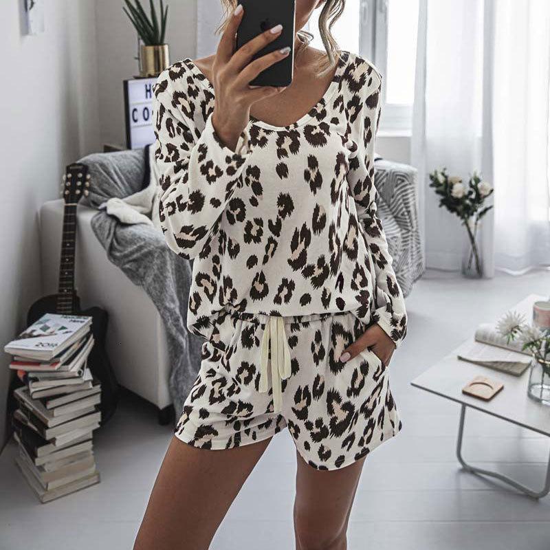 2021 Leopard Pajama Loungewear Sleepwear Homewear Pjs Women Lounge Set Ladies Home Suit Sleep Wear