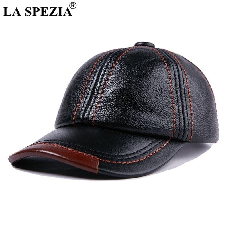 La Spezia Echtes Leder Baseballmütze Männer Schwarz Rindsleder Hut Snapback Männlich Einstellbar Herbst Winter Echtleder Spitzenhüte 210331