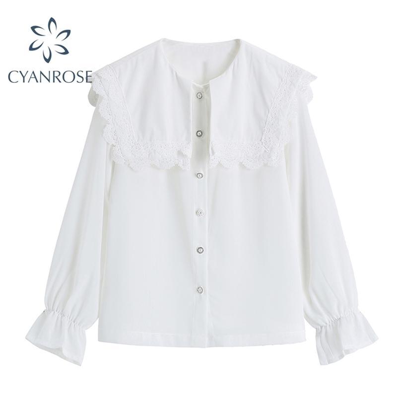 Camicia bianca Camicetta Sailor Collare Cardigan Manica Lunga Retro Ufficio Ladies BlusAS Femmina Chic Single Breasted Button 210515