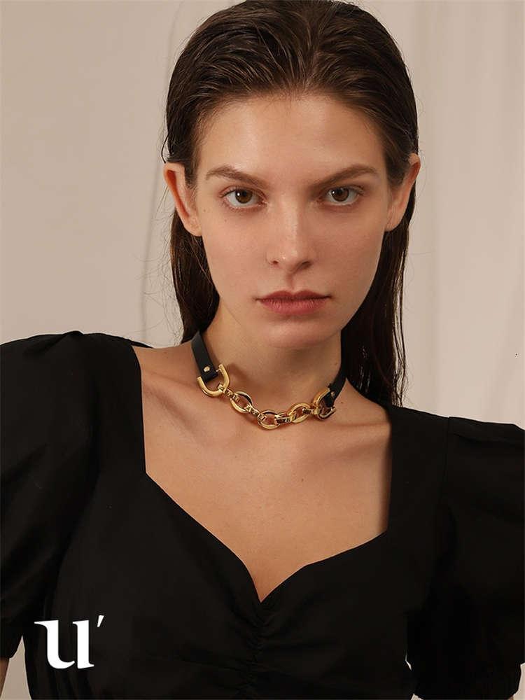 Moda Simple Leather Geometria Versátil Clavícula Corrente Nicho Design Requintado Personalidade Elegante Colar Tendência