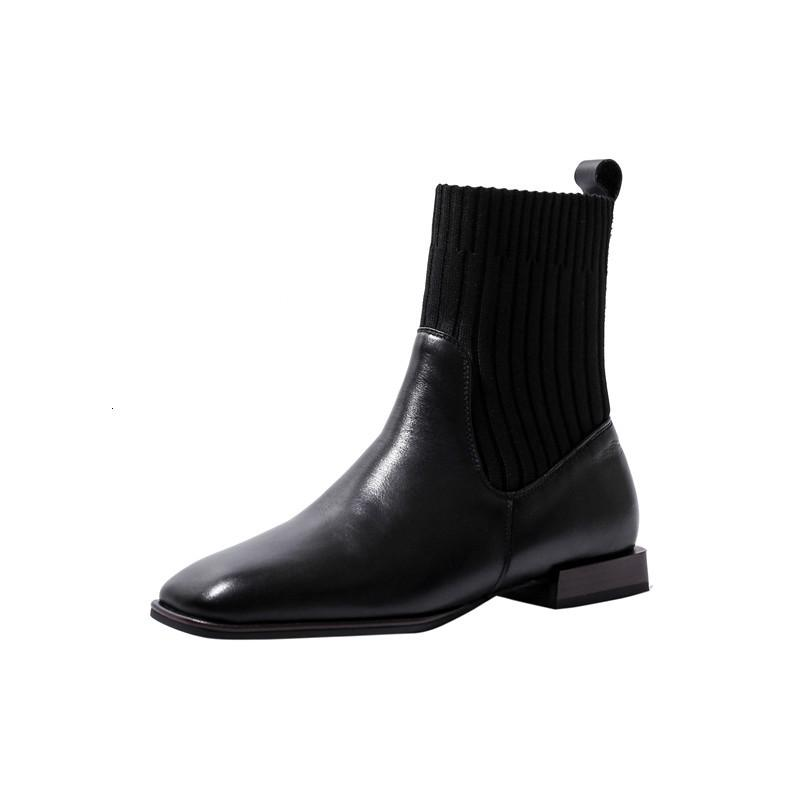 Orijinal Yüksek Kaliteli Deri Kadın Ayakkabı Ayak Kare Örme Ayakkabı Gerginlik Botları