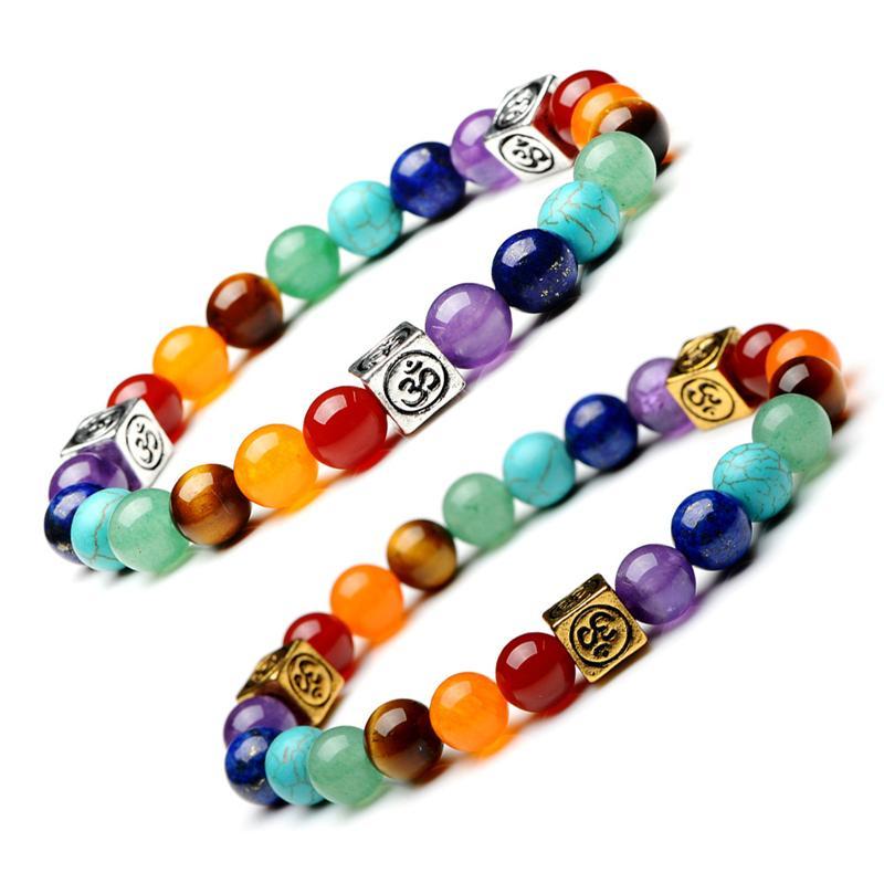 Natürliche Lava Steine Stretch Armbänder 8mm Reiki Heilende Energie Stränge Bunte 7 Chakra Stein Buddha Gebetsperlen Armband Schmuck Für Frauen Männer Geschenke