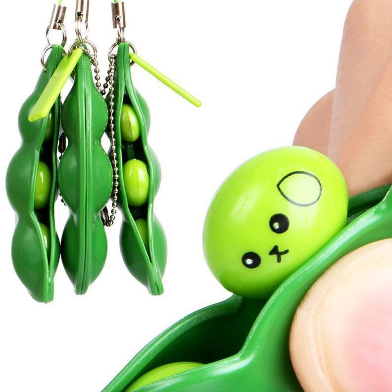 2021 US STOCK Decompression Edamame Toys Squishy Squeeze Peas Beans Keychain Anti Stress Adult Toy Rubber Boys Party Gift Fidget To