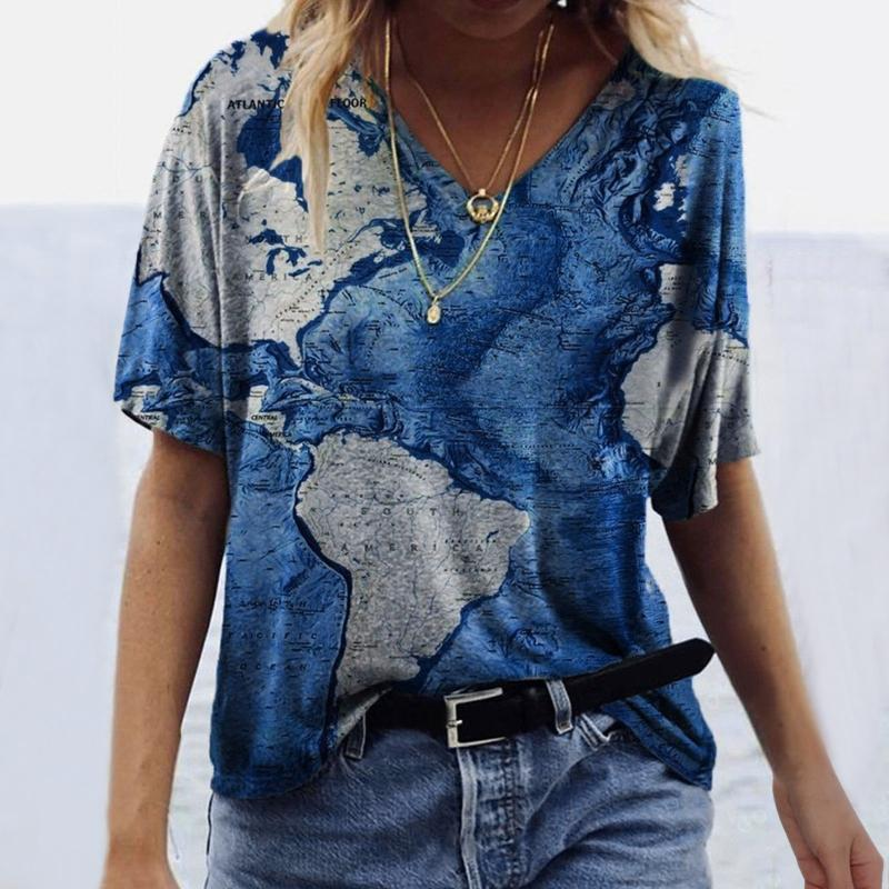 T-shirt da donna Abstract Stampa Abbigliamento Abbigliamento Donne Donne Cause Fashion Manica Corta Stampata con scollo a V Top Tee Indie Estetic