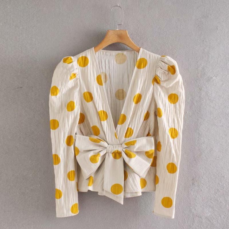 Women Vintage Bow Decoration Polka Dot Print Casual Slim Kimono Blouse Shirts Chic Office Blusas Pleat Chemise Tops LS6430 Women's Blouses &