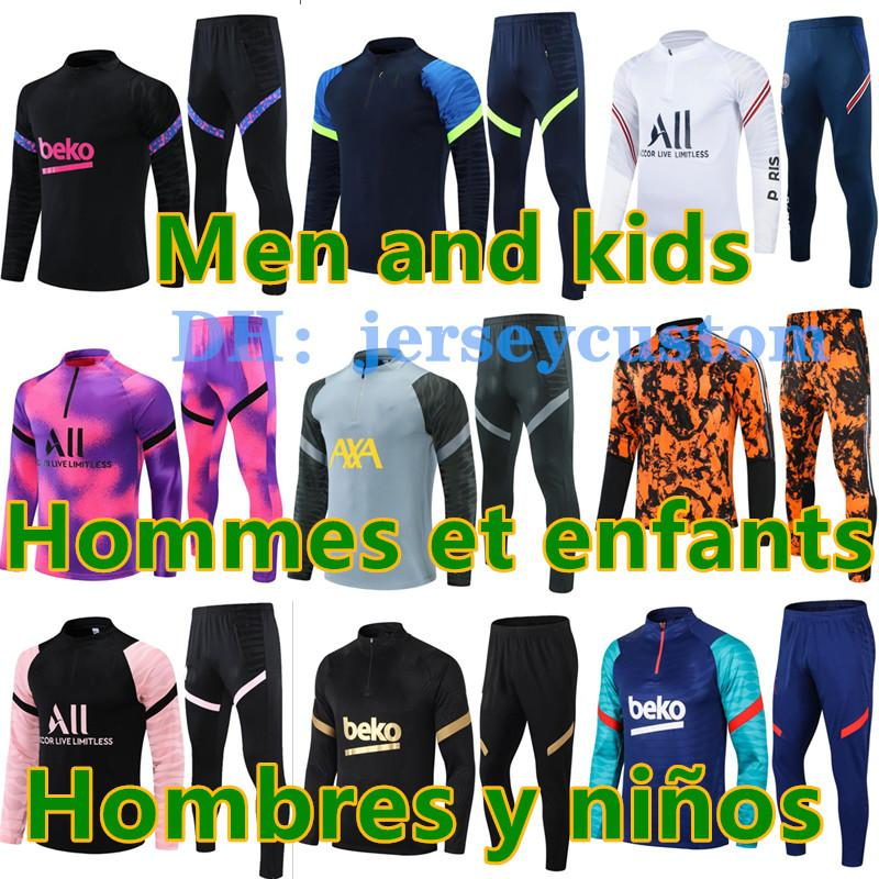 barcelona real madrid psg france ajax marseille tottenham manchester city liverpool arsenal kids football kits 20 21 soccer training suit