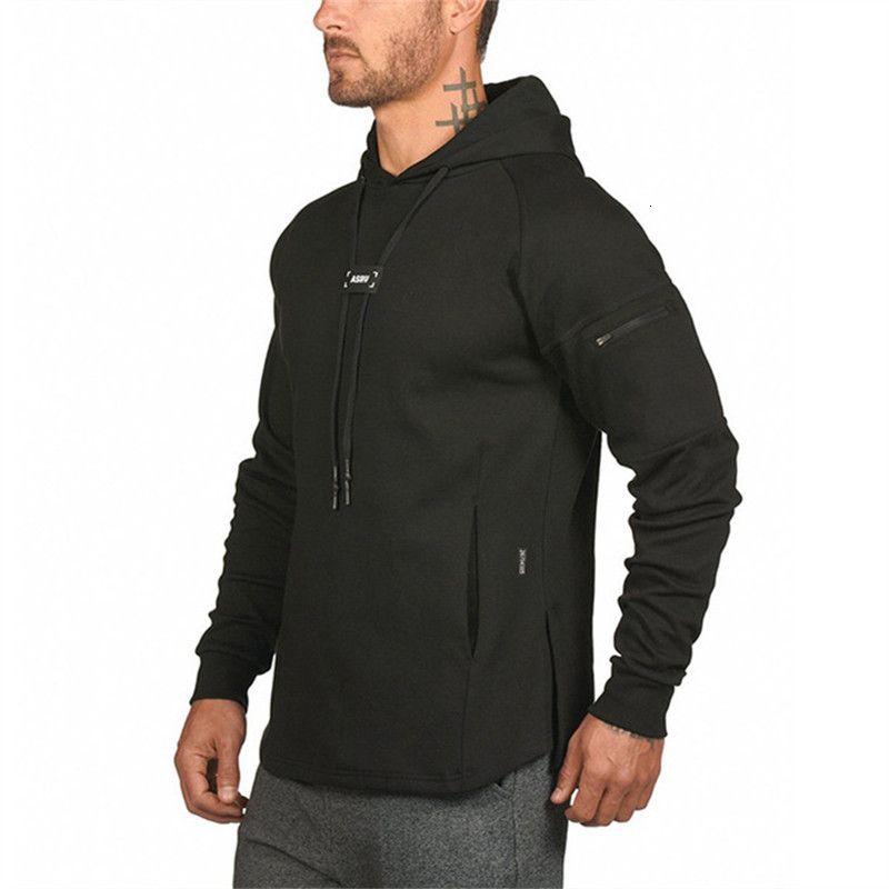 Sweats à capuche à capuche de sport noir pour hommes 2021 Automne Nouveau Sweat-shirt à capuche pour hommes Couleur solide Hoodie Homme Vêtements