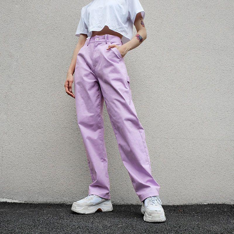 Bayanlar Dipleri 210518 kadın Pantolon Düz Bacak Yüksek Bel Katı Mor Gevşek Kadın Uzun Pantolon Moda Casual 80% Pamuk Sashes