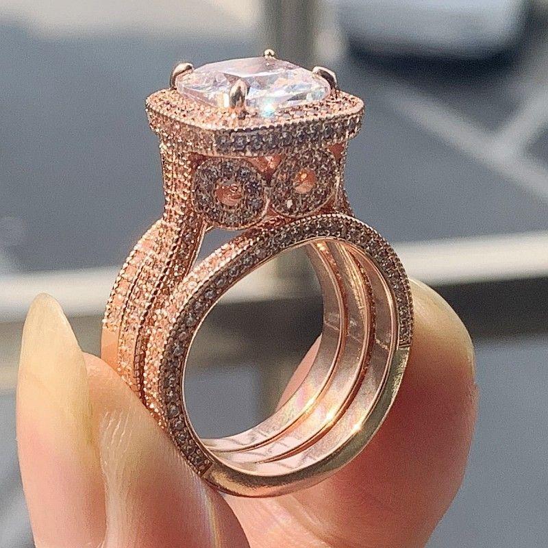 2020 Arrival Vintage Fine Jewelry 925 Sterling Silver&Rose Gold Cushion Shape White Topaz CZ Diamond 3PCS Wedding Ring