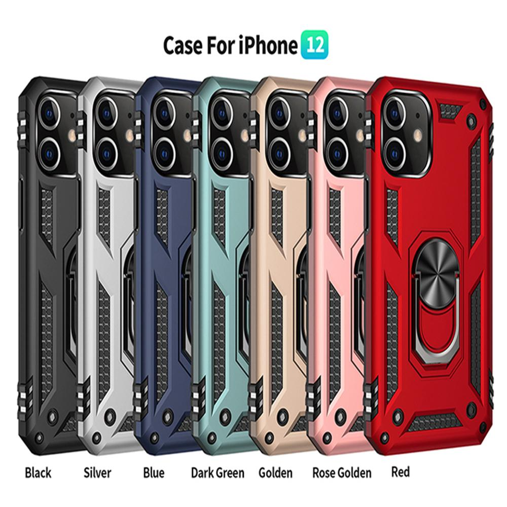 Shockproof Armor Phone Case For iPhone 12 mini 11 Pro XR XS Max X 7 8 Plus Magnetic Finger Ring Anti-Fall Cover