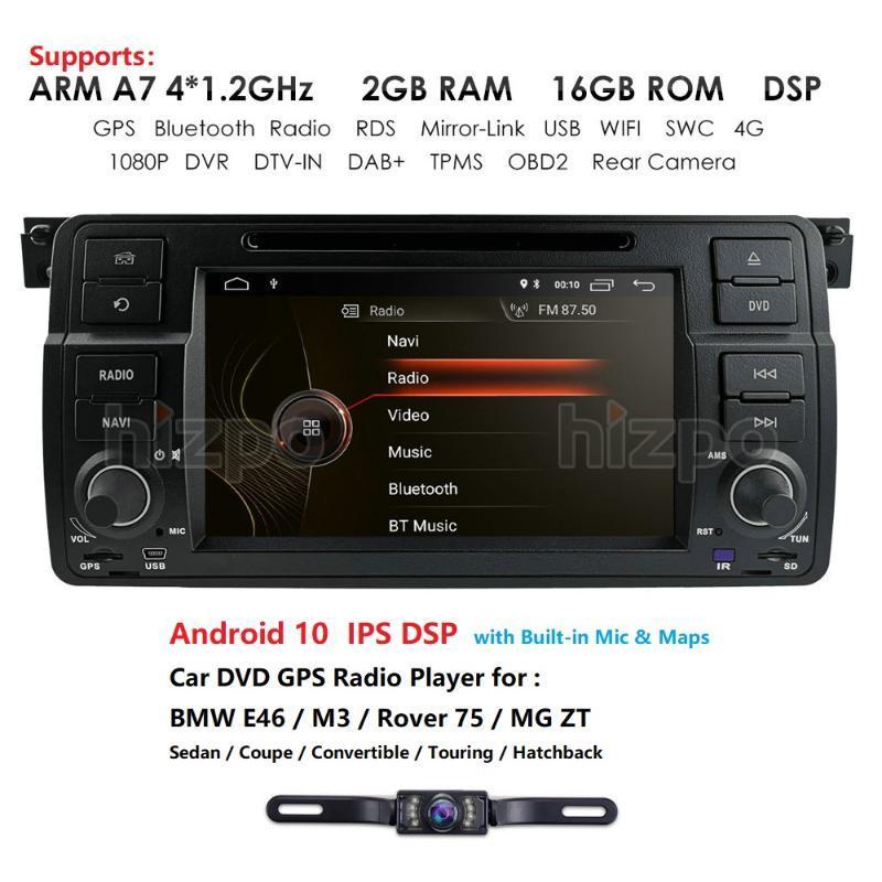 Android 10.0 Head Unit Coche DVD Radio para E46 Sedan de 4 puertas 1998-2005 M3 2000-2006 Rover 75 1999-2005 DTV-IN RDS SWC DAB + TPMS Player