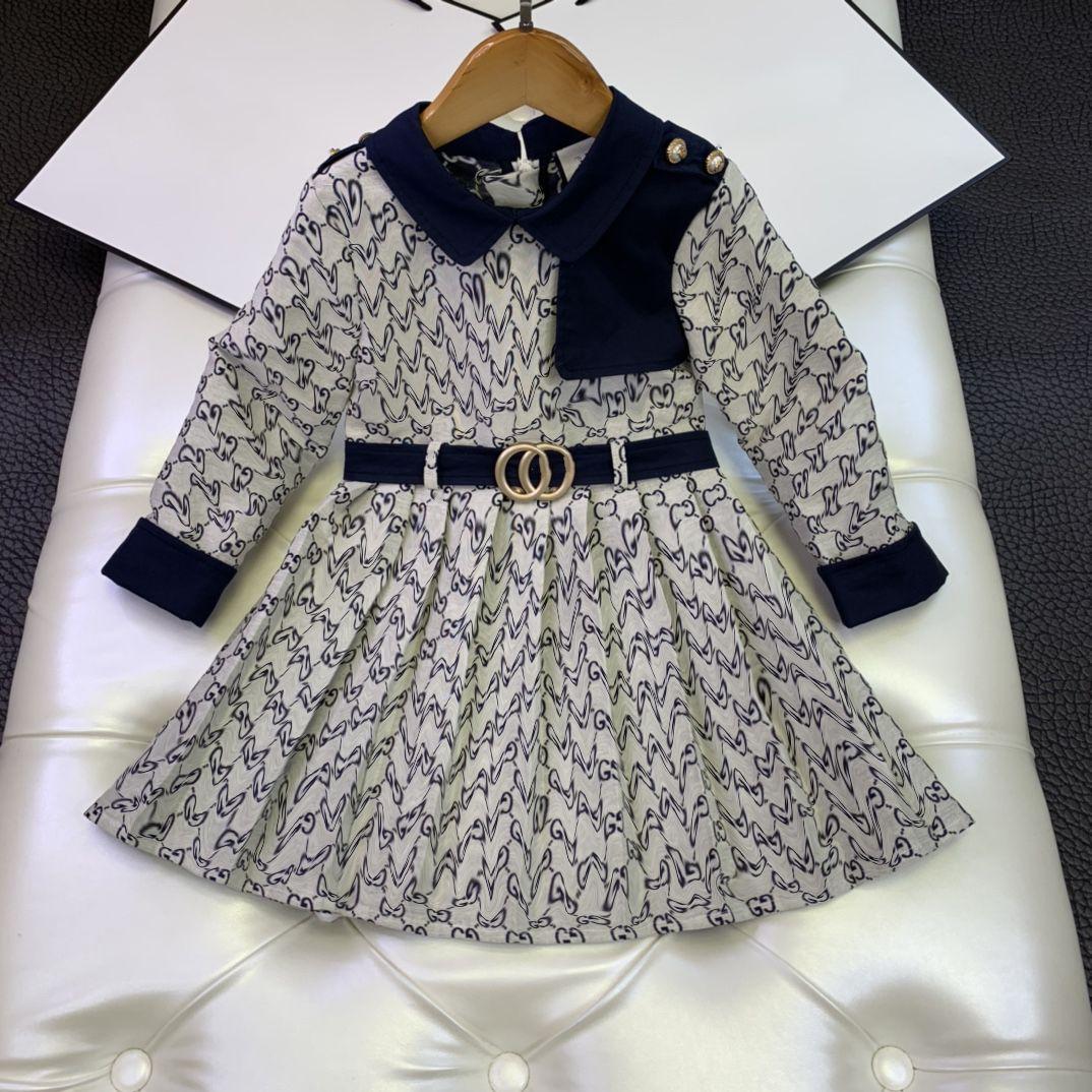 الفاخرة الاطفال التنانير مجموعات الأطفال الخريف دي طباعة تصميم فساتين طويلة الأكمام الفتيات الأميرة ارتداء حجم 100-160
