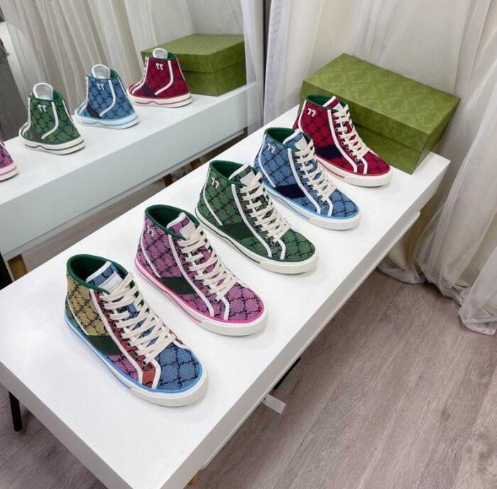 2021 Designers Tennis 1977 Sneaker Toile de Sneaker Luxurys Chaussure Beige Blue Blue Lavé Jacquard Denim Femmes Chaussures Ace Caoutchouc Semelle Baskets Casual Brodé Vintage