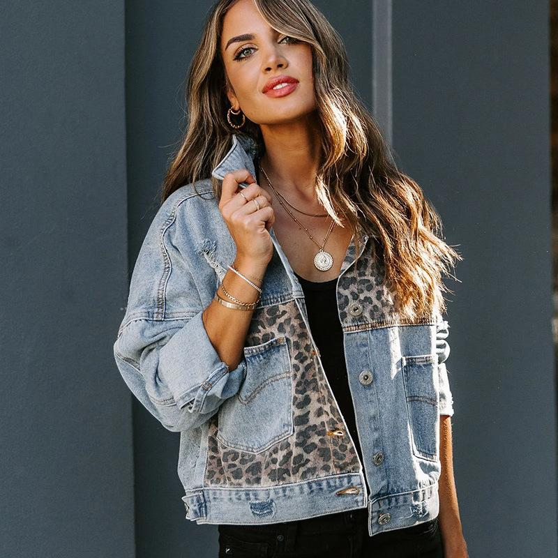 Ladies Fashion Leopard Print Stitching Large Size Denim Jacket Retro Long Sleeve Chic