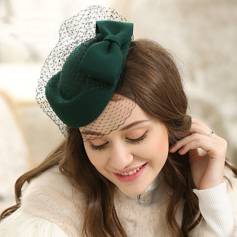 Ziyafet Fascinator Saç Pillbox Kadınlar 100% Yün Keçe Bere Kap Bayan Kokteyl Parti Düğün Kilisesi Fedora Top Şapka