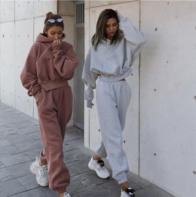 Europeu e americano outono inverno feminino filhos esportes terno solto casual com capuz cor sólida camisola jaqueta