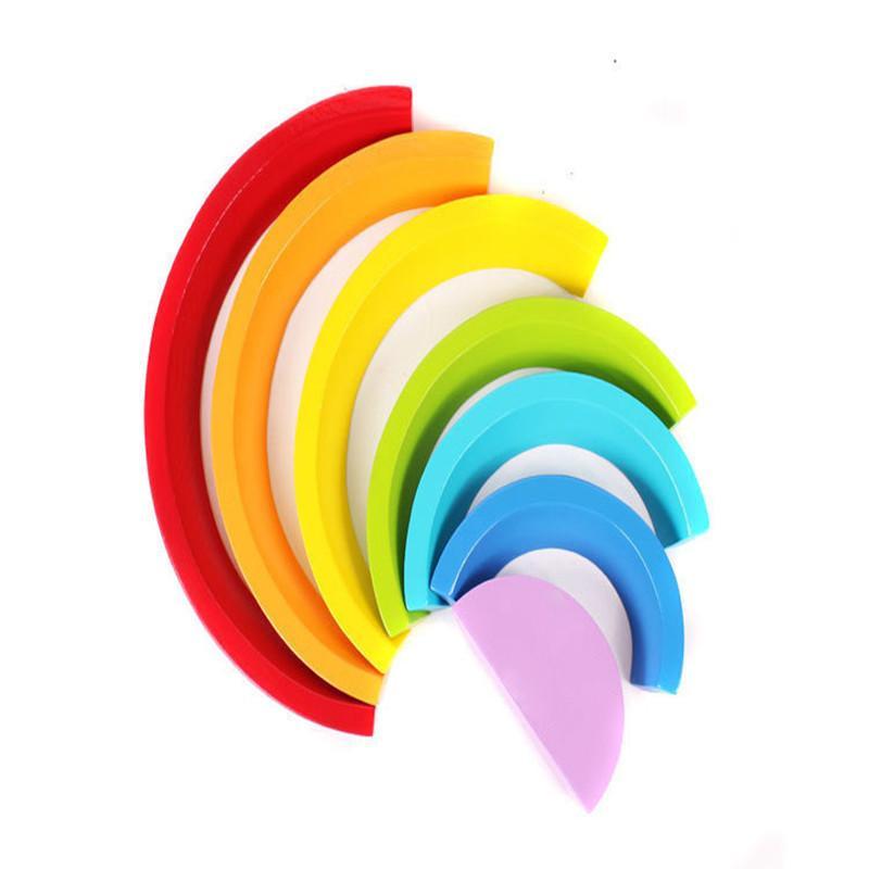 7 stücke Kinder Regenbogen Stapelung Holz Block Spielzeug Baby Kreative Farbe Sortieren Regenbogen Holzblöcke für Kinder Geometrisches Früherlern 789 S2