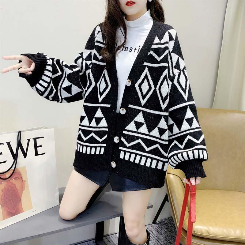 뜨개질 카디건 여자 스웨터 기하학 다이아몬드 느슨한 스웨터 한국어 블랙 레드 캐주얼 싱글 브레스트 탑 플러스 사이즈 의류 여성용 니트