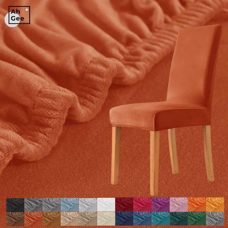 Orange Samtstuhlabdeckung Elastische Esszimmerabdeckungen mit schwarzer Spandex-Stretch für Stühle Küche