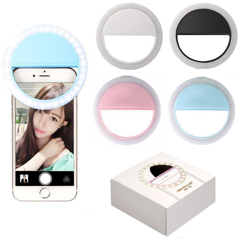Universal Selfie LED anel flash luz portátil telefone celular selfie lâmpada luminous clipe para iphone x xs mas 8 plus samausng huawei dhl