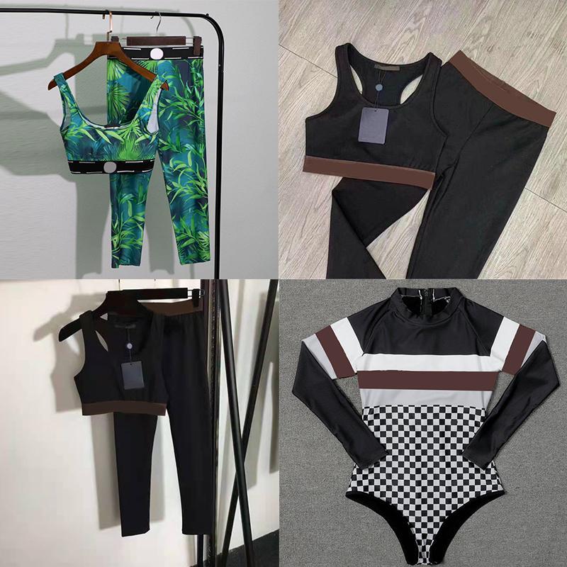 Lazer Mulheres Esportes Swimwear Designer Bodysuit Calças Terno de Alta Qualidade Biquíni Swimsuit Yoga Terno Nating Wear