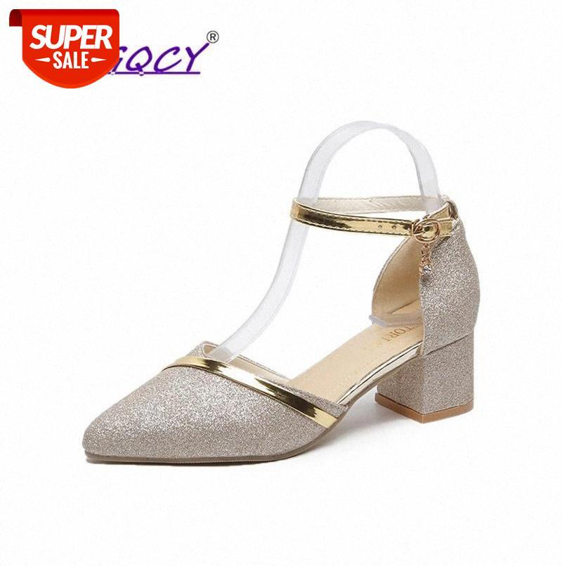Sequined Cloth pumps women shoes 2019 Autumn SummerB dress bridesmaid Square heel sandals wedding #CL8y