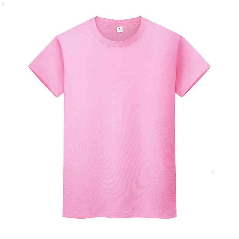 Nueva camiseta de color sólido de cuello redondo Camisa de fondo de algodón de verano de manga corta para hombre y mujer de manga corta Z1LKI