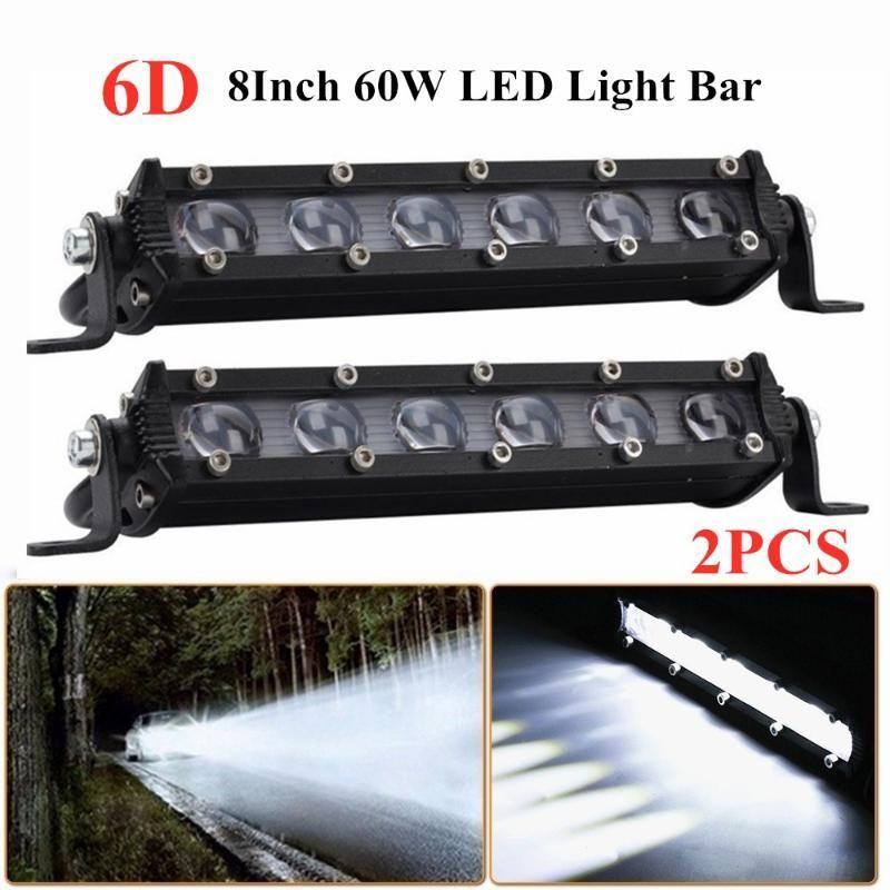 Working Light 6D 8Inch 60W LED Bar IP68 Waterproof 4X4 Off Road Truck SUV ATV Spotlight Fog Lamp Work Car Accessorie