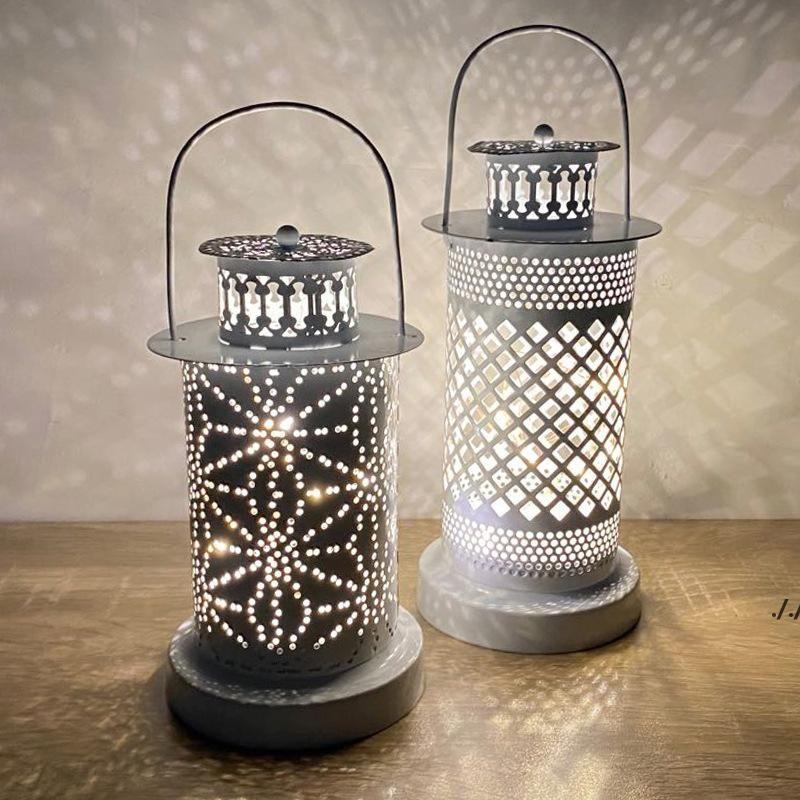 Viento hueco linternas hierro artesanía hueco decorativo candelabro led vela luces luces festival de bricolaje fiesta decoración casera mar barco dwd6418