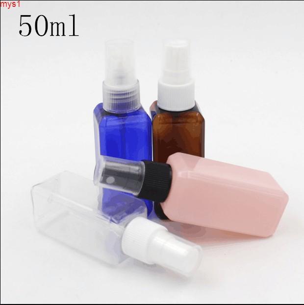 50 g / ml Blue Pink Blue Blee Darl Brown Plastic Cuadrate Botella de pulverización Perfume Toner Toner Embalaje Vacío Botella de embalaje Cantidad