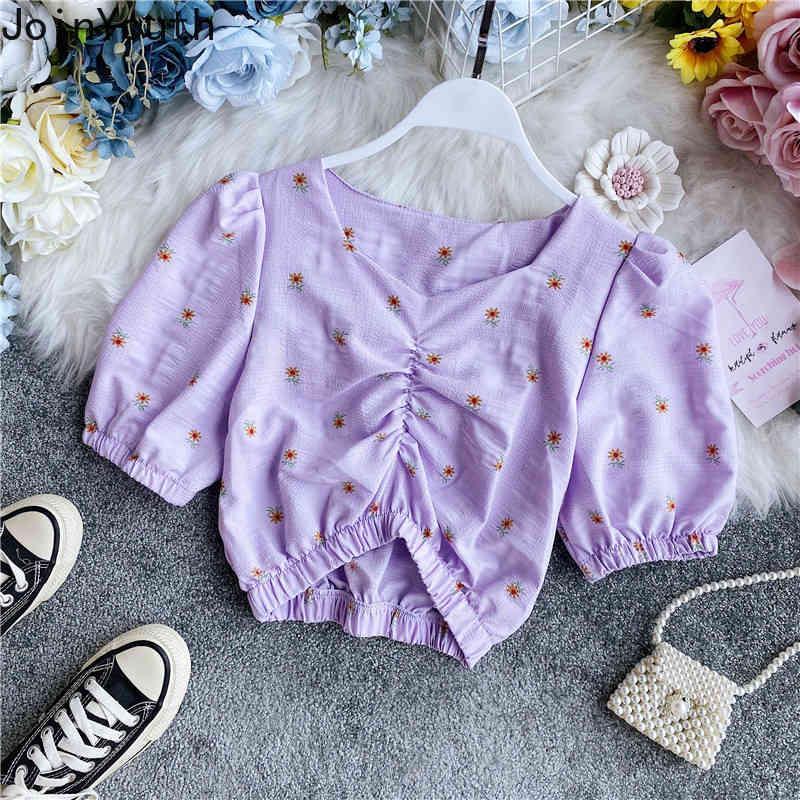 JoinYouth Summer Crop Top Vestiti coreani Blouss Tunica Tunica Stampa floreale V Neck Donne Camicie pieghettate Shirt a pieghe Moda Astuccio a soffio BlusAS 7A071 210423