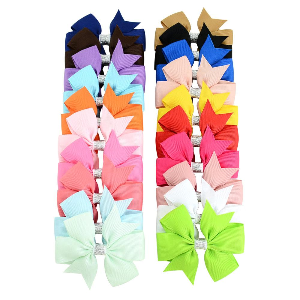 Baby Girls Bowknot Grosgrain Hairpins Solid Ribbon Bows With Alligator Clips Childrens Hair Accessories Kids Boutique Bubble Bow Barrette KFJ302