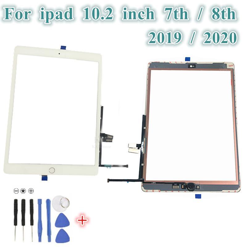 """1PCS شاشة تعمل باللمس محول الأرقام الخارجية لوحة زجاج المنزل زر استبدال أجزاء فليكس ل iPad 7/8 th 10.2 """"2019/2020 + أدوات + لاصق"""