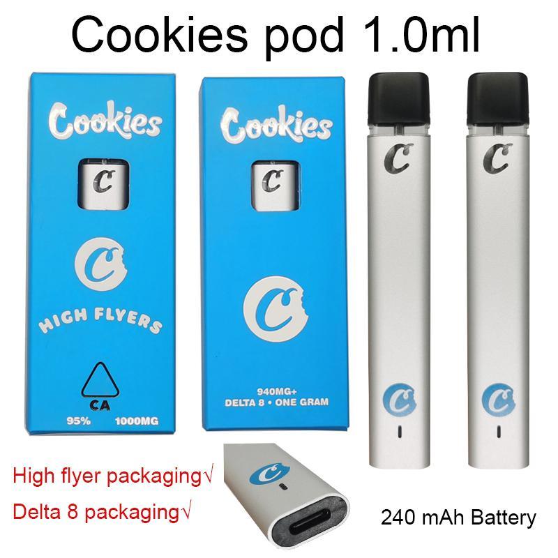 Cookies одноразовые Vape Pen Cookie аккумуляторные E Cigarettes Замкнутая система POD 240 мАч Батарея Стартерские наборы 1 мл керамическая катушка пустые картриджи упаковки