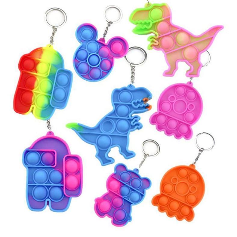 fidget 장난감 감각 보석 키 체인 푸시 거품 만화 간단한 딤플 장난감 키 체인 스트레스 릴리버 재고 있음