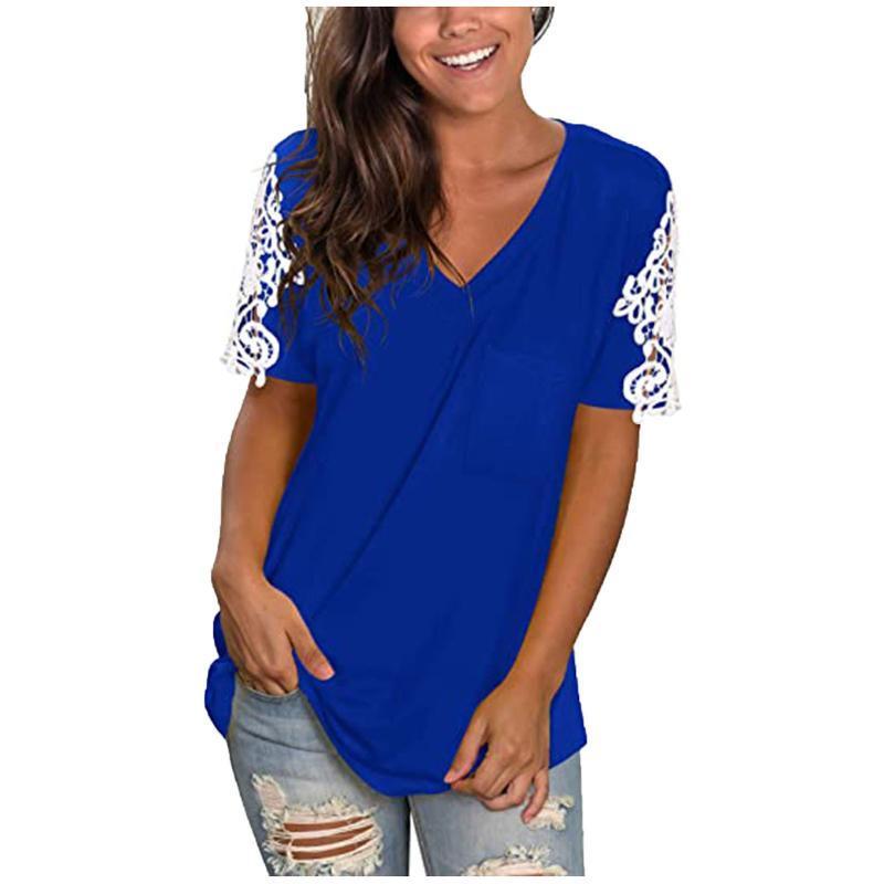 Kadın Dantel Kısa Kollu V Yaka T-shirt Gevşek Rahat Yaz Tee Tops Bayanlar Femme Kadın Giyim Camisetas de Mujer